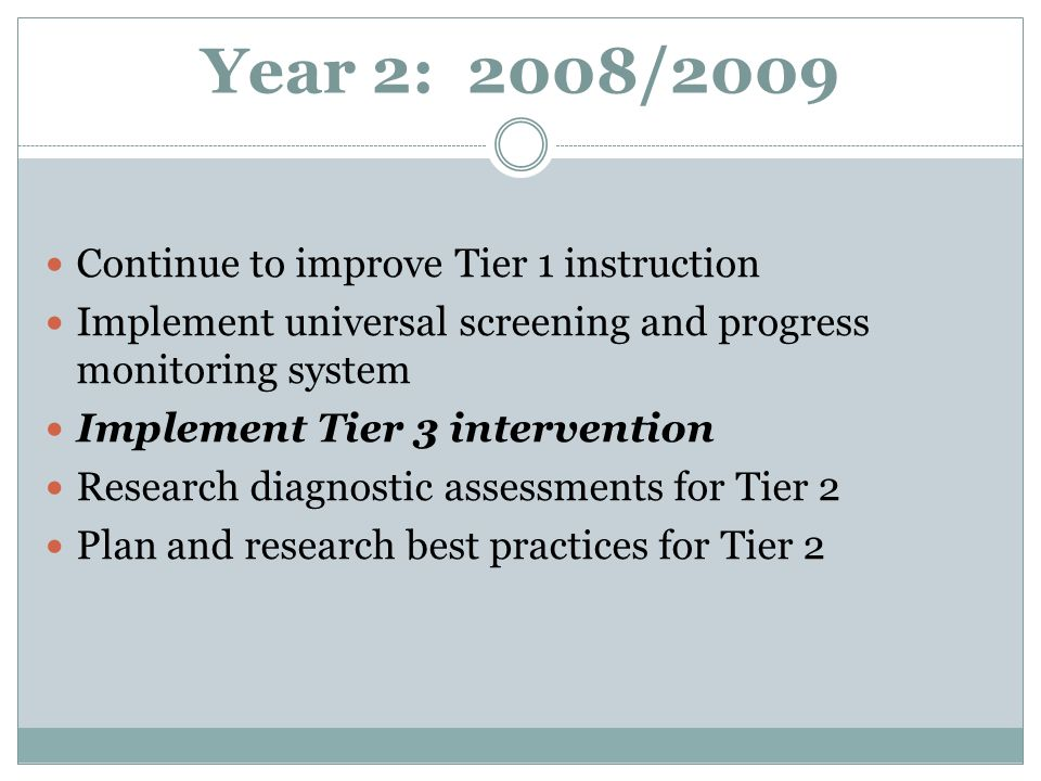 Year 2: 2008/2009 Continue to improve Tier 1 instruction Implement universal screening and progress monitoring system Implement Tier 3 intervention Research diagnostic assessments for Tier 2 Plan and research best practices for Tier 2