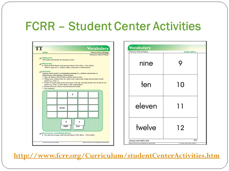 FCRR – Student Center Activities http://www.fcrr.org/Curriculum/studentCenterActivities.htm