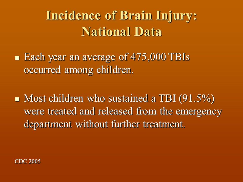 Incidence of Brain Injury: National Data Each year an average of 475,000 TBIs occurred among children.