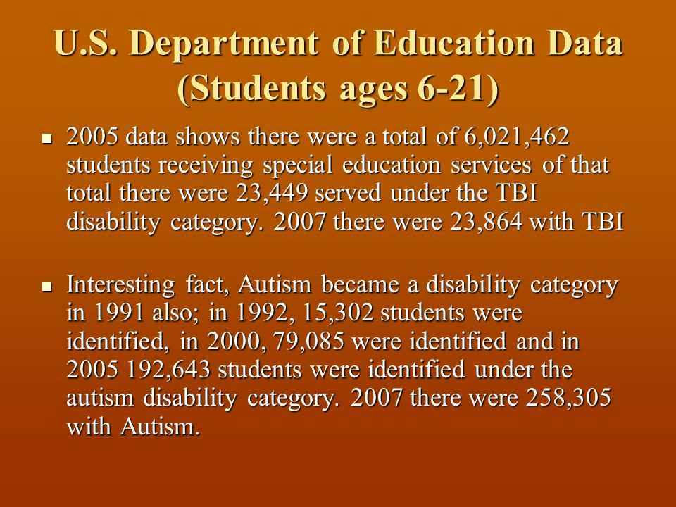 U.S. Department of Education Data (Students ages 6-21) 2005 data shows there were a total of 6,021,462 students receiving special education services o