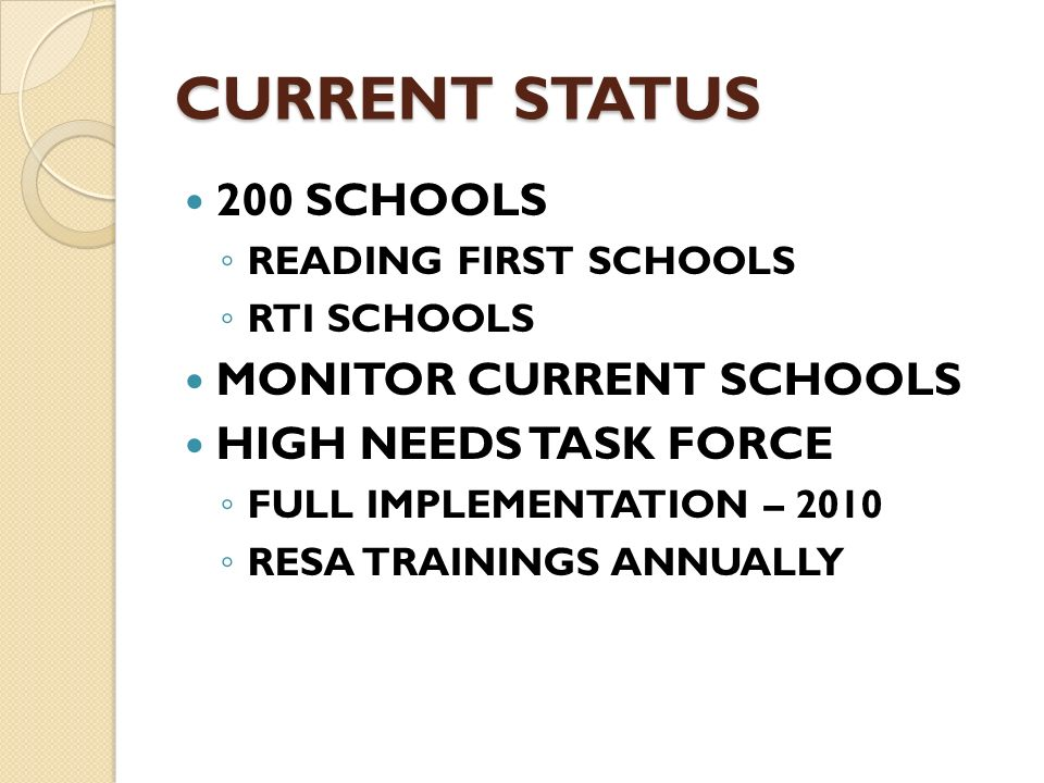 CURRENT STATUS 200 SCHOOLS READING FIRST SCHOOLS RTI SCHOOLS MONITOR CURRENT SCHOOLS HIGH NEEDS TASK FORCE FULL IMPLEMENTATION – 2010 RESA TRAININGS A