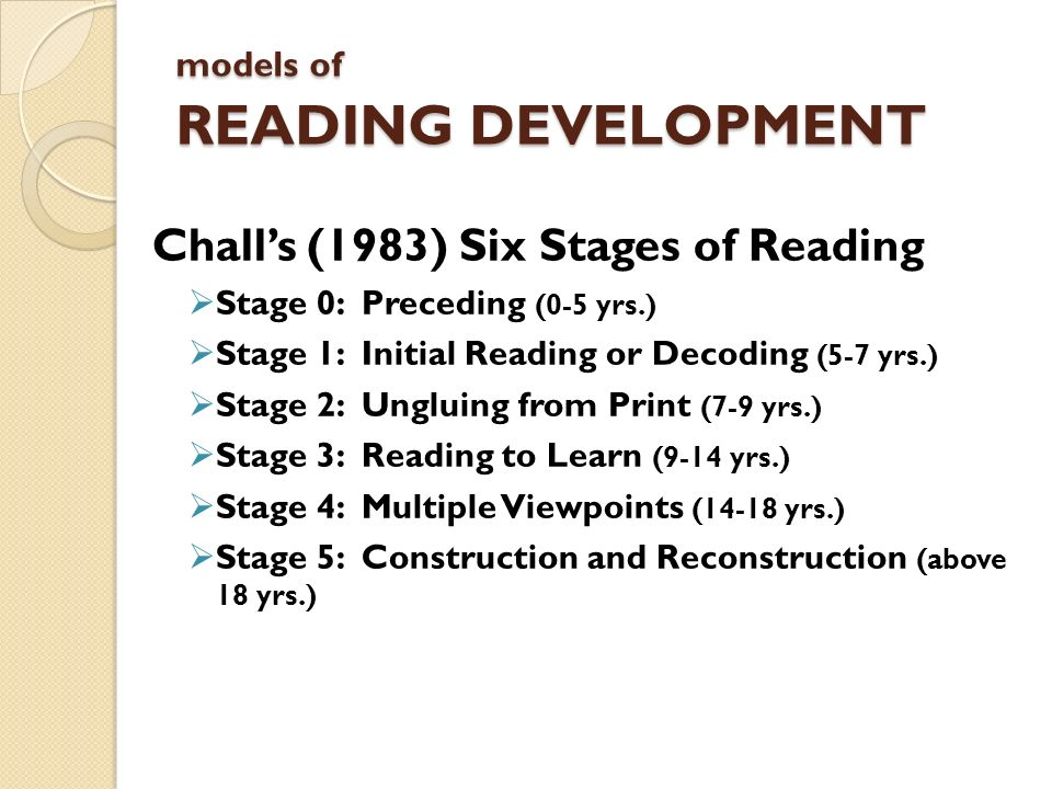 models of READING DEVELOPMENT Challs (1983) Six Stages of Reading Stage 0: Preceding (0-5 yrs.) Stage 1: Initial Reading or Decoding (5-7 yrs.) Stage