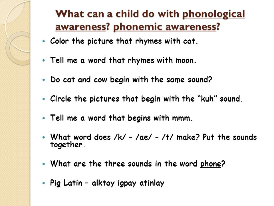 What can a child do with phonological awareness? phonemic awareness? Color the picture that rhymes with cat. Tell me a word that rhymes with moon. Do