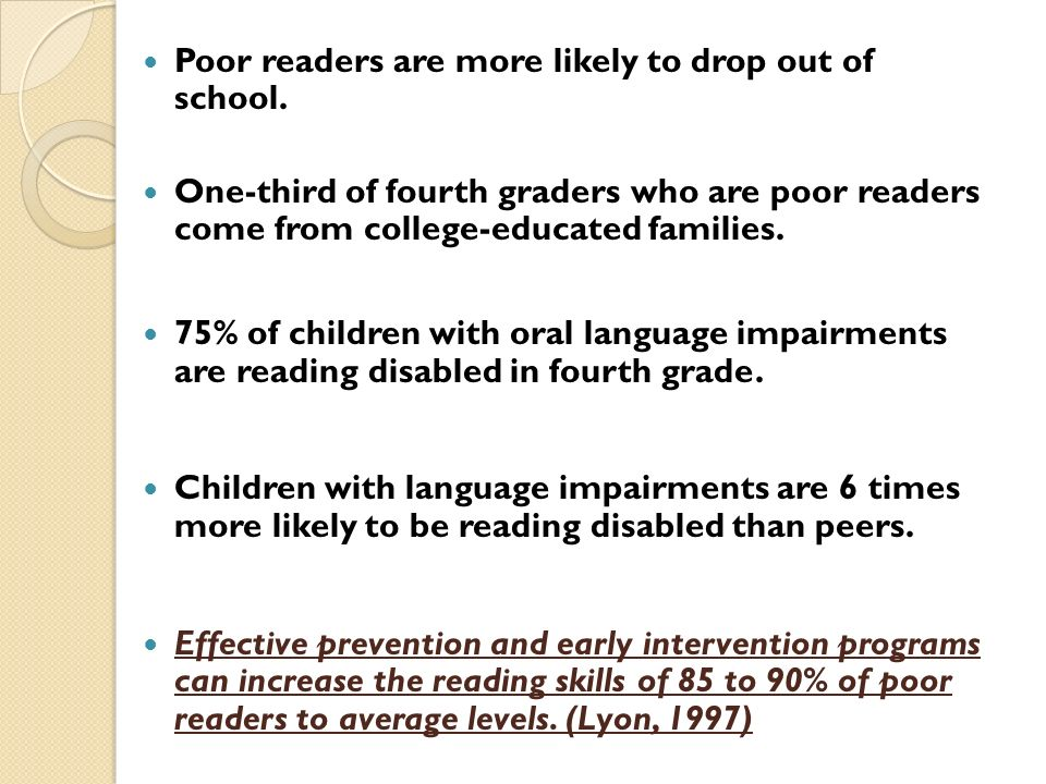 Poor readers are more likely to drop out of school. One-third of fourth graders who are poor readers come from college-educated families. 75% of child