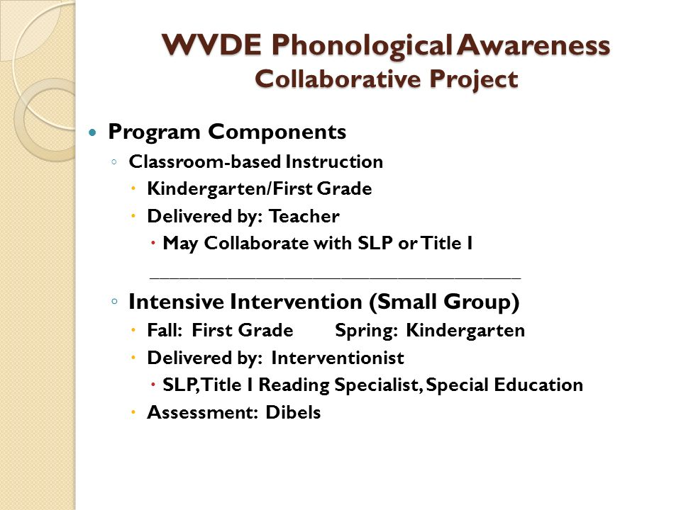 WVDE Phonological Awareness Collaborative Project Program Components Classroom-based Instruction Kindergarten/First Grade Delivered by: Teacher May Co