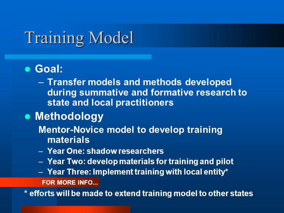 Training Model Goal: –Transfer models and methods developed during summative and formative research to state and local practitioners Methodology Mentor-Novice model to develop training materials –Year One: shadow researchers –Year Two: develop materials for training and pilot –Year Three: Implement training with local entity* FOR MORE INFO...