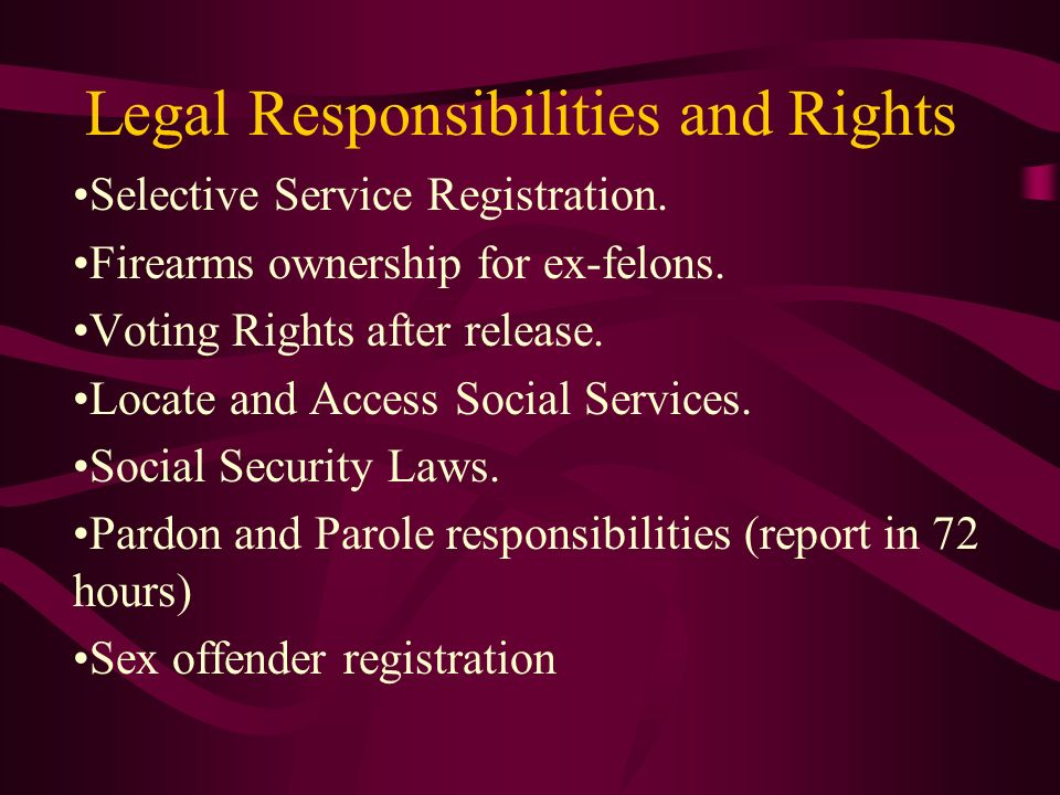 Legal Responsibilities and Rights Selective Service Registration. Firearms ownership for ex-felons. Voting Rights after release. Locate and Access Soc