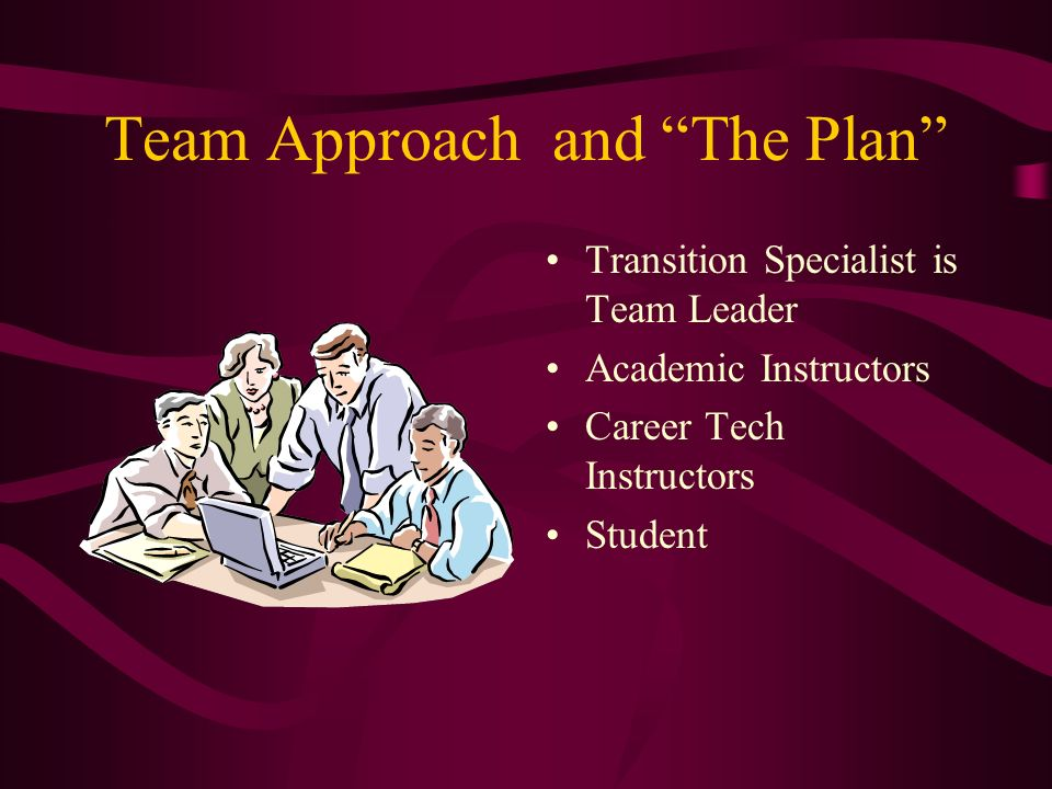 Team Approach and The Plan Transition Specialist is Team Leader Academic Instructors Career Tech Instructors Student