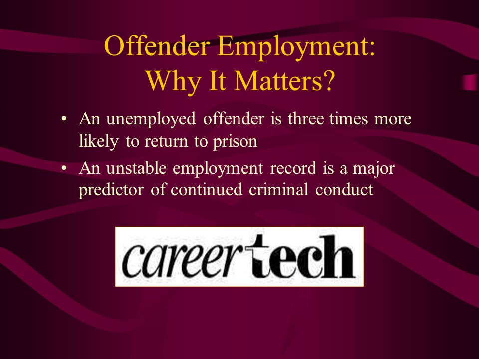 Offender Employment: Why It Matters? An unemployed offender is three times more likely to return to prison An unstable employment record is a major pr