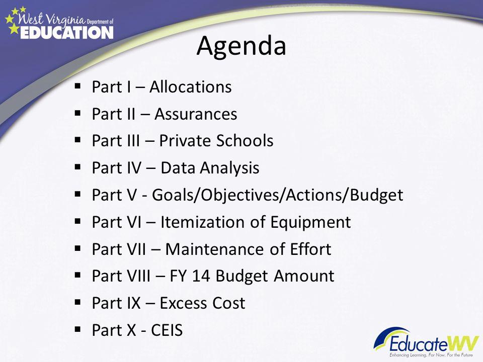 Agenda Part I – Allocations Part II – Assurances Part III – Private Schools Part IV – Data Analysis Part V - Goals/Objectives/Actions/Budget Part VI –