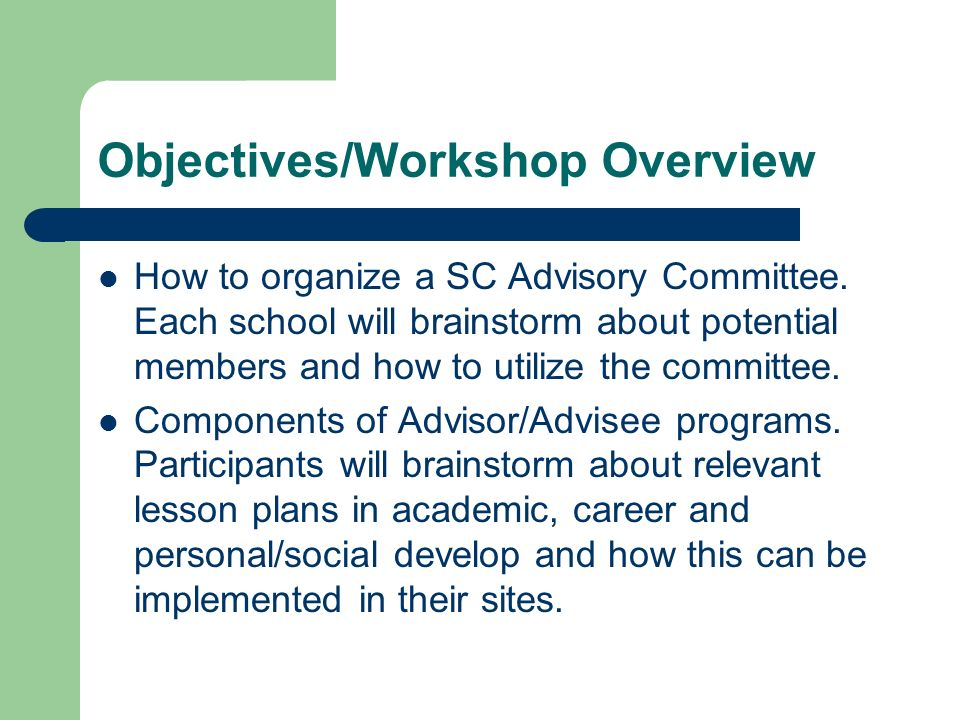 Objectives/Workshop Overview How to organize a SC Advisory Committee. Each school will brainstorm about potential members and how to utilize the commi
