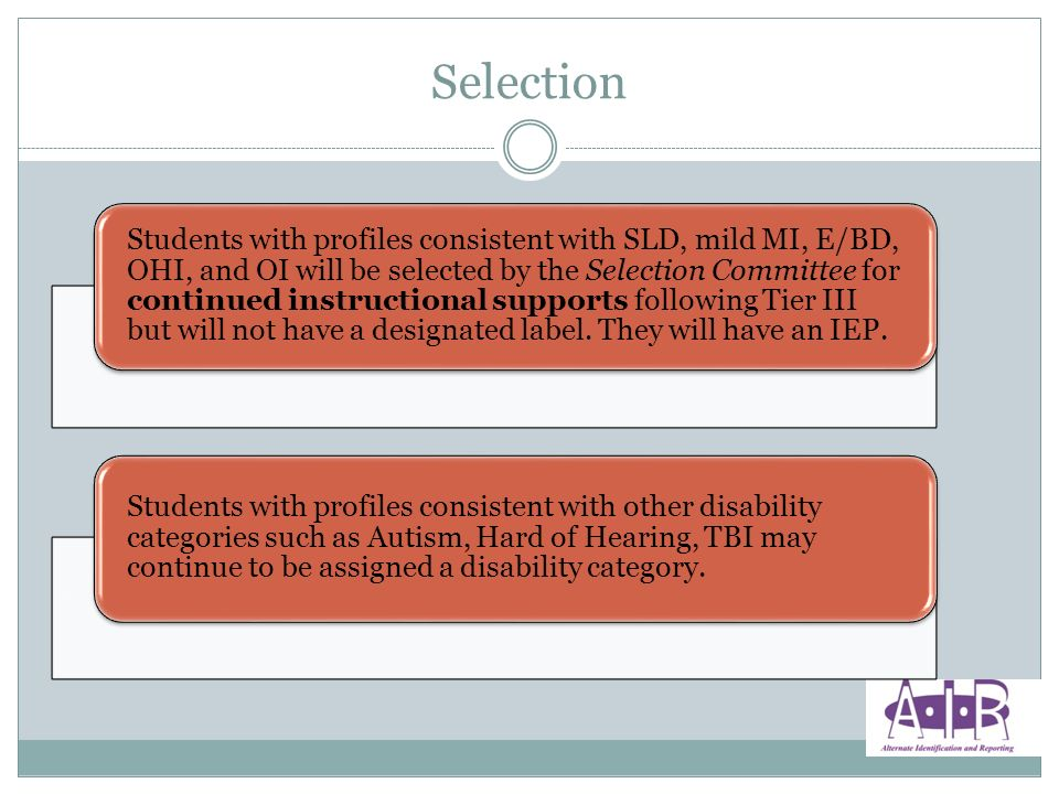 Students with profiles consistent with SLD, mild MI, E/BD, OHI, and OI will be selected by the Selection Committee for continued instructional supports following Tier III but will not have a designated label.