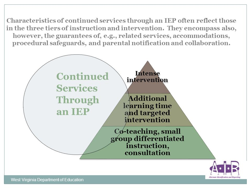 West Virginia Department of Education Characteristics of continued services through an IEP often reflect those in the three tiers of instruction and i
