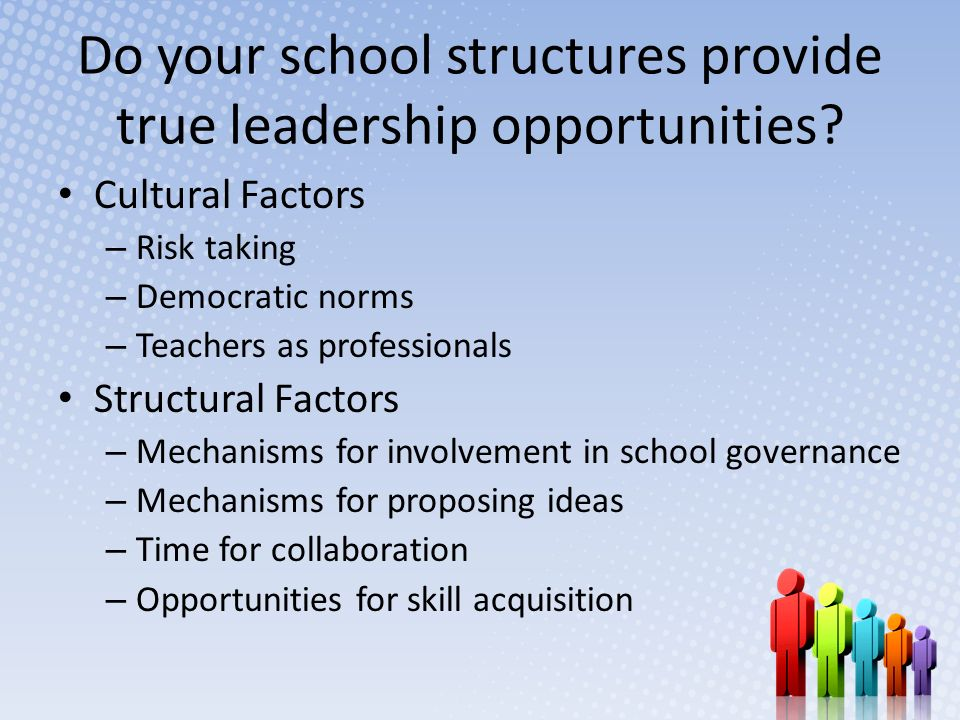 Do your school structures provide true leadership opportunities.