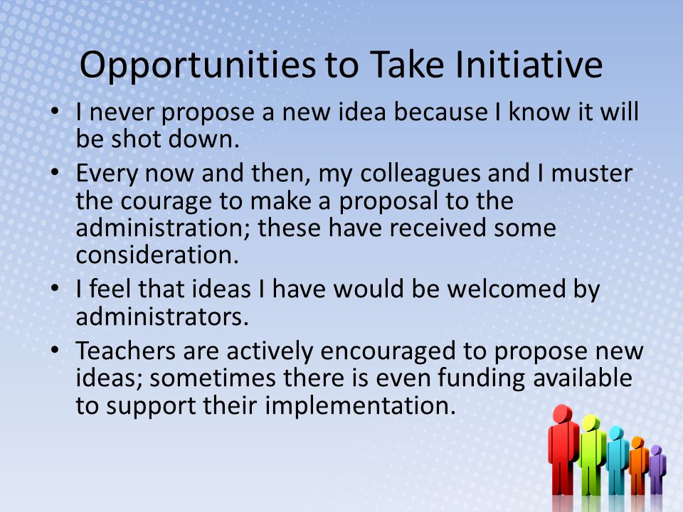 Opportunities to Take Initiative I never propose a new idea because I know it will be shot down.