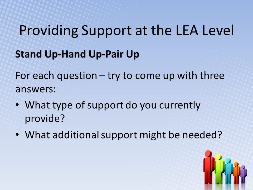 Providing Support at the LEA Level Stand Up-Hand Up-Pair Up For each question – try to come up with three answers: What type of support do you currently provide.