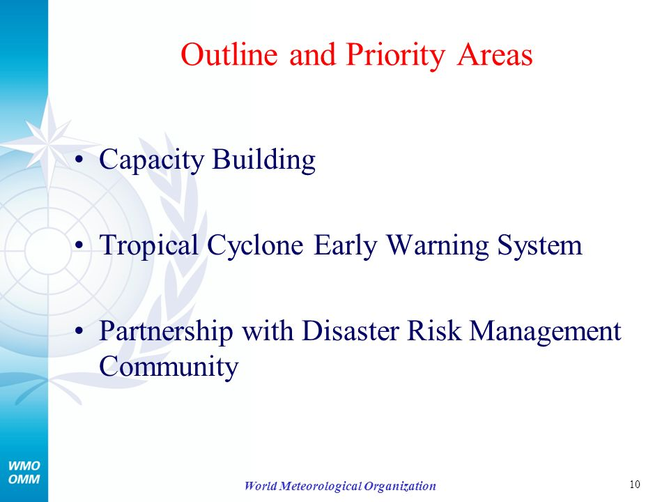 10 World Meteorological Organization Outline and Priority Areas Capacity Building Tropical Cyclone Early Warning System Partnership with Disaster Risk Management Community