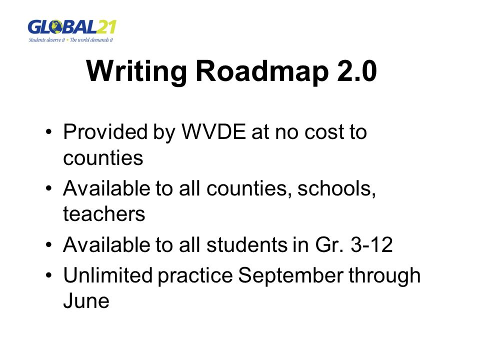 Provided by WVDE at no cost to counties Available to all counties, schools, teachers Available to all students in Gr. 3-12 Unlimited practice Septembe
