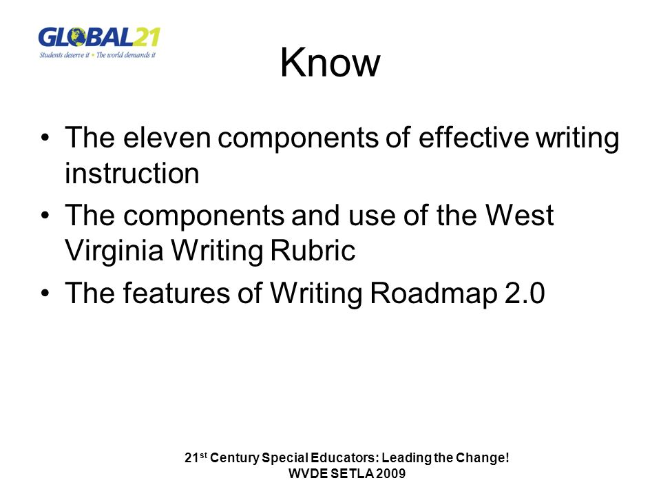 Know The eleven components of effective writing instruction The components and use of the West Virginia Writing Rubric The features of Writing Roadmap