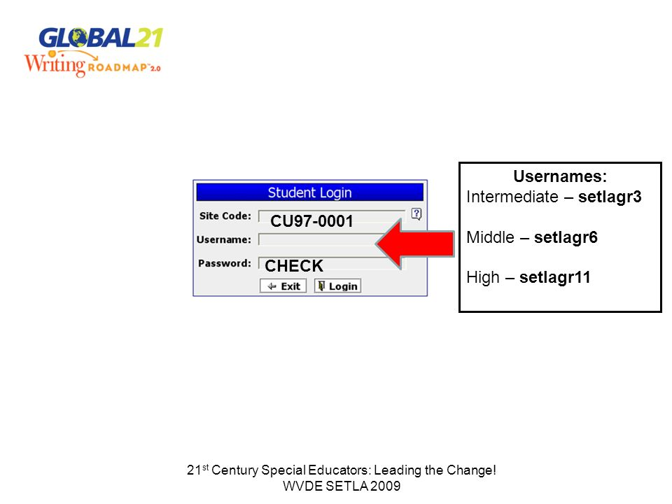 21 st Century Special Educators: Leading the Change! WVDE SETLA 2009 Usernames: Intermediate – setlagr3 Middle – setlagr6 High – setlagr11 CU97-0001 C