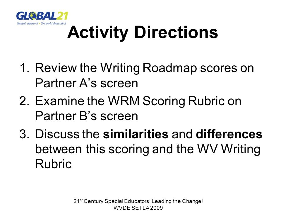 Activity Directions 1.Review the Writing Roadmap scores on Partner As screen 2.Examine the WRM Scoring Rubric on Partner Bs screen 3.Discuss the similarities and differences between this scoring and the WV Writing Rubric 21 st Century Special Educators: Leading the Change.