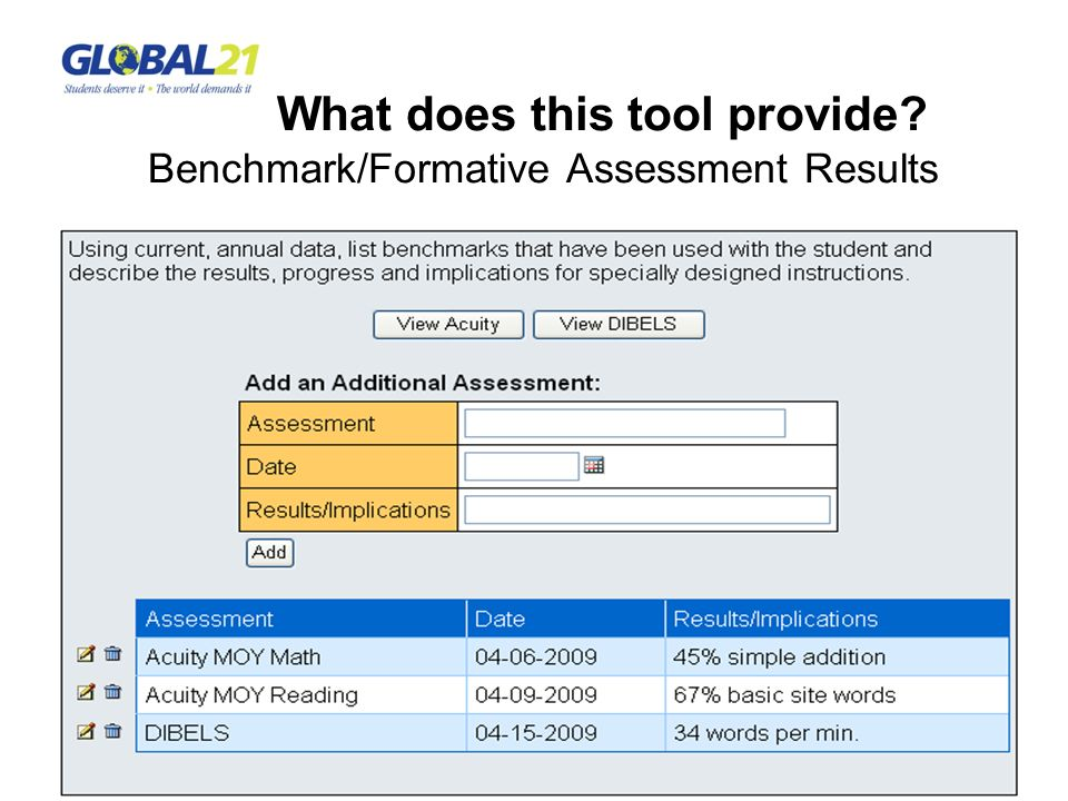 What does this tool provide Benchmark/Formative Assessment Results