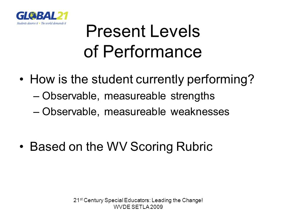Present Levels of Performance How is the student currently performing.