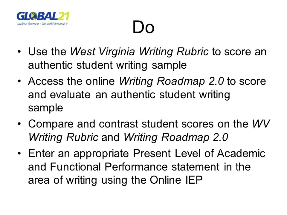 Do Use the West Virginia Writing Rubric to score an authentic student writing sample Access the online Writing Roadmap 2.0 to score and evaluate an au