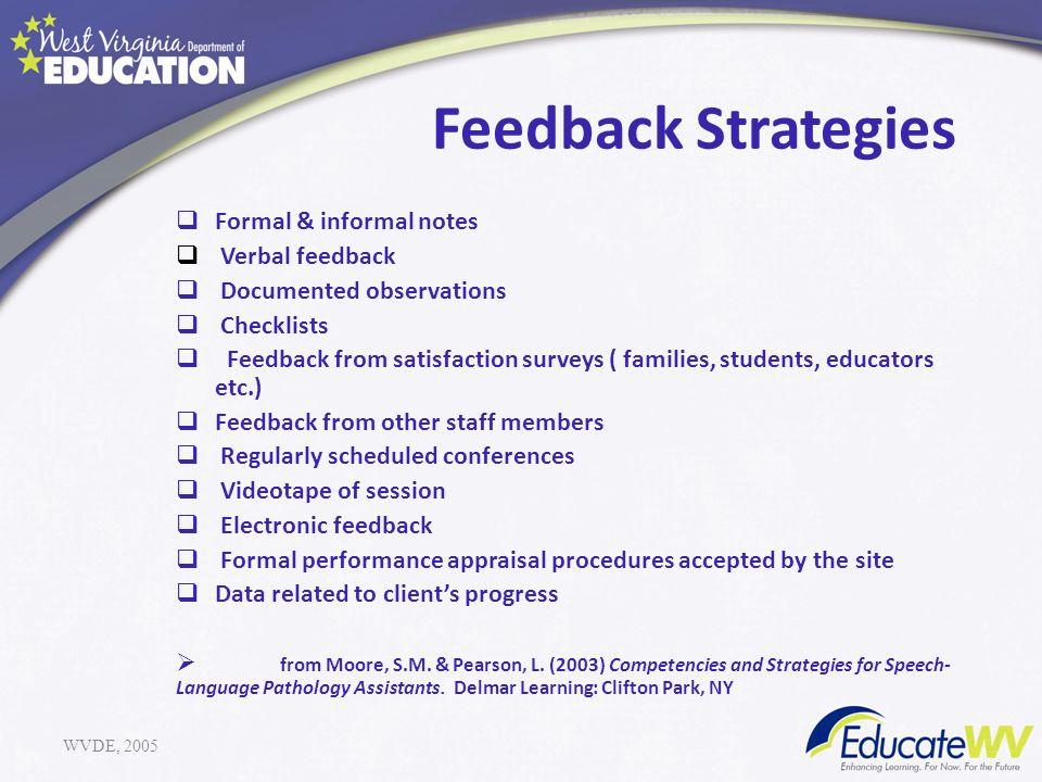 Feedback Strategies Formal & informal notes Verbal feedback Documented observations Checklists Feedback from satisfaction surveys ( families, students