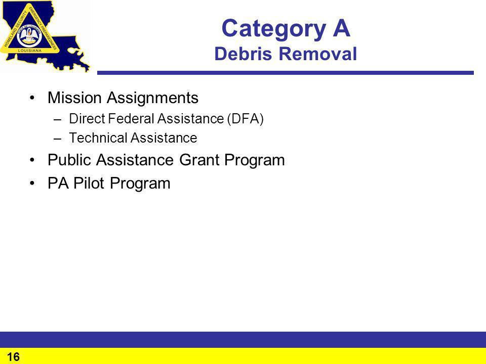 16 Category A Debris Removal Mission Assignments –Direct Federal Assistance (DFA) –Technical Assistance Public Assistance Grant Program PA Pilot Progr