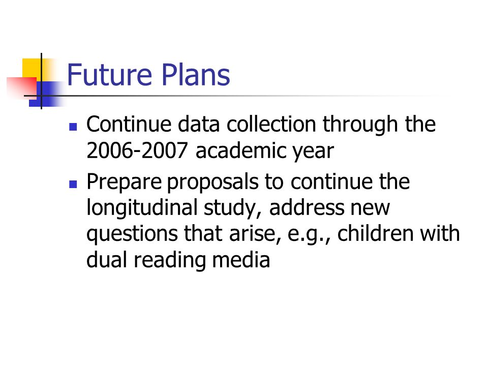 Future Plans Continue data collection through the 2006-2007 academic year Prepare proposals to continue the longitudinal study, address new questions that arise, e.g., children with dual reading media