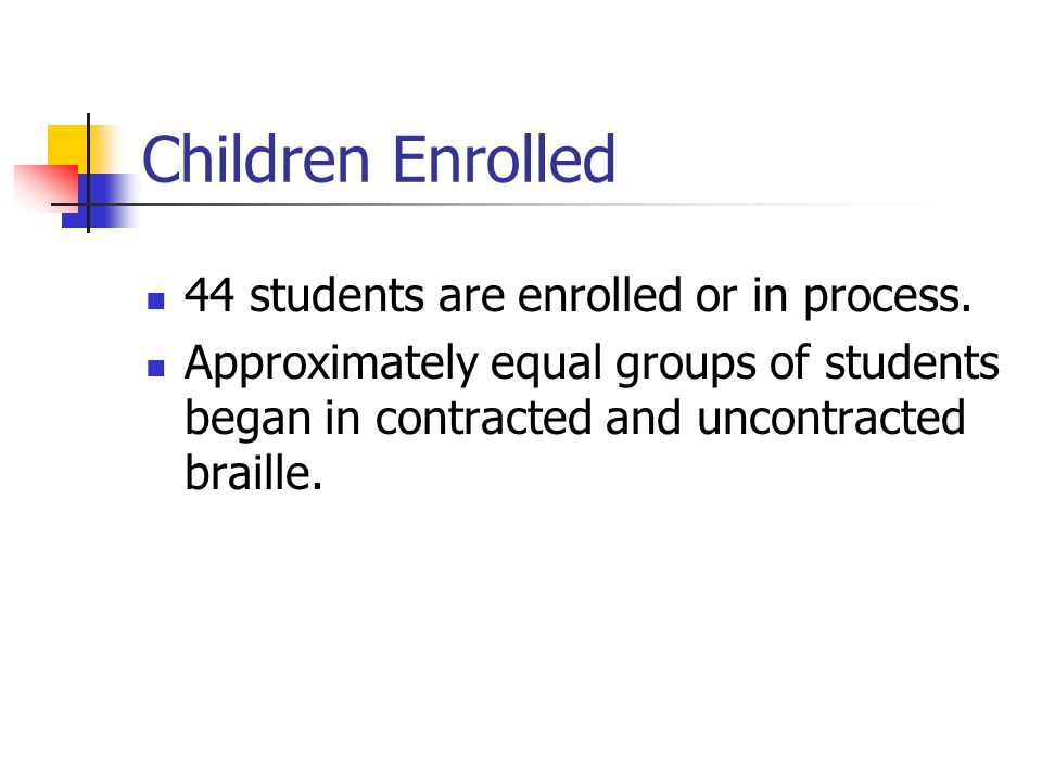 Children Enrolled 44 students are enrolled or in process. Approximately equal groups of students began in contracted and uncontracted braille.