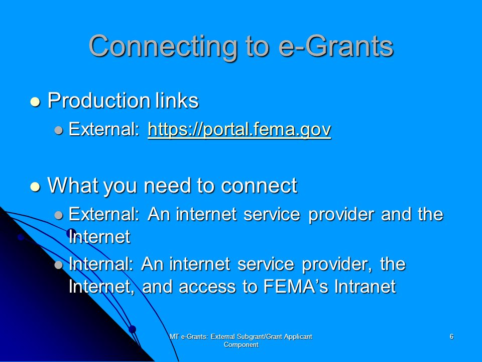 MT e-Grants: External Subgrant/Grant Applicant Component 37 Administration Overview Overview Preferences Preferences Subgrant Pre-Applications Subgrant Pre-Applications SF-424 viewable by Subgrant Applicants SF-424 viewable by Subgrant Applicants Enable Assurances and Certifications Enable Assurances and Certifications Enable External e-mail Enable External e-mail User Registrations User Registrations