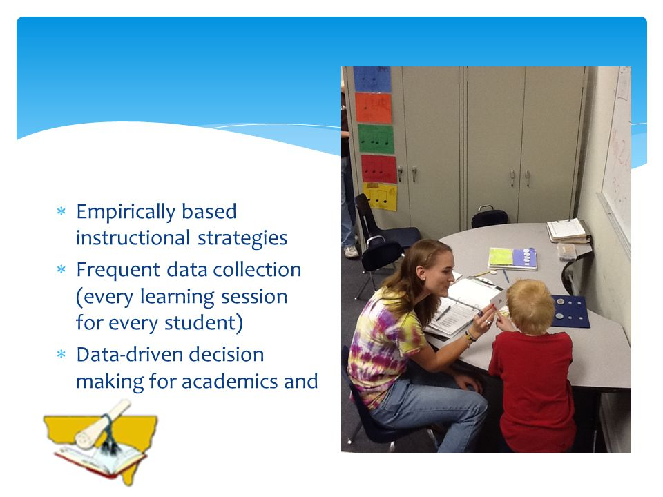 Empirically based instructional strategies Frequent data collection (every learning session for every student) Data-driven decision making for academi