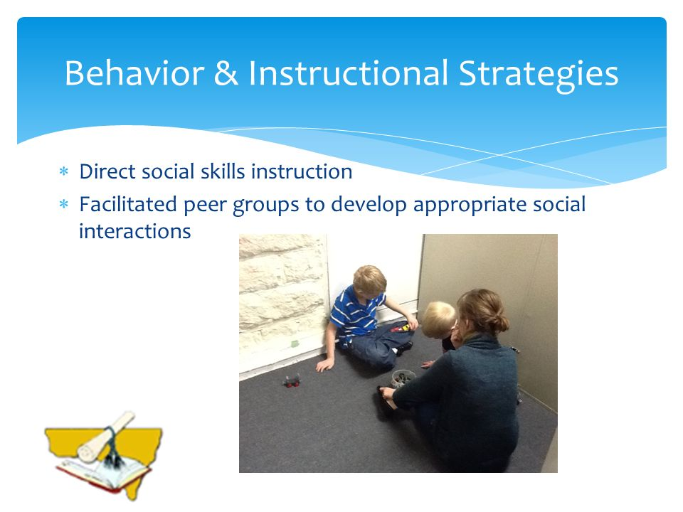 Behavior & Instructional Strategies Direct social skills instruction Facilitated peer groups to develop appropriate social interactions