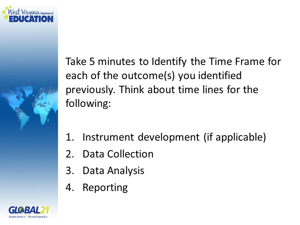 Take 5 minutes to Identify the Time Frame for each of the outcome(s) you identified previously. Think about time lines for the following: 1.Instrument