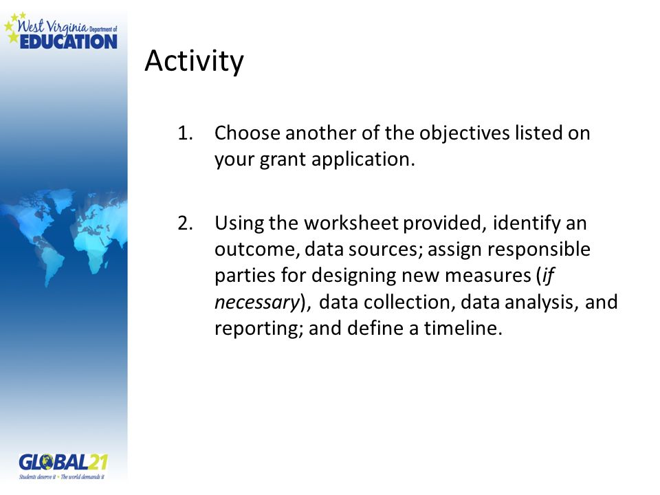 Activity 1.Choose another of the objectives listed on your grant application. 2.Using the worksheet provided, identify an outcome, data sources; assig
