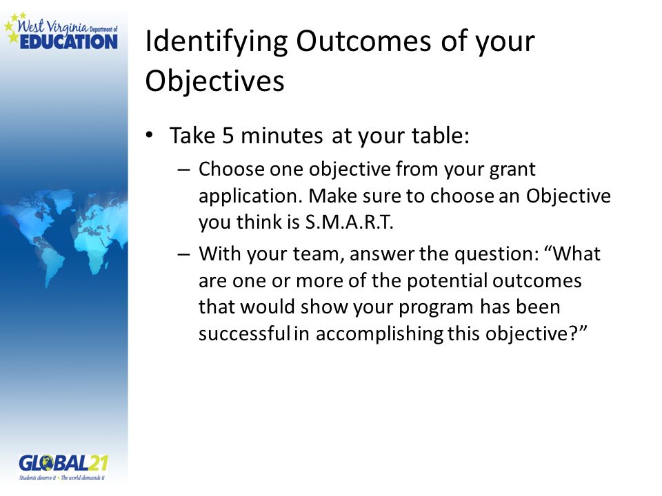 Identifying Outcomes of your Objectives Take 5 minutes at your table: – Choose one objective from your grant application.