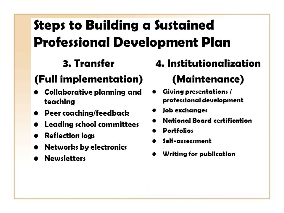 Steps to Building a Sustained Professional Development Plan 3.