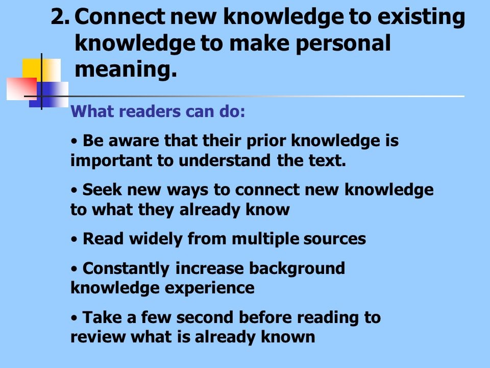 2.Connect new knowledge to existing knowledge to make personal meaning. What readers can do: Be aware that their prior knowledge is important to under