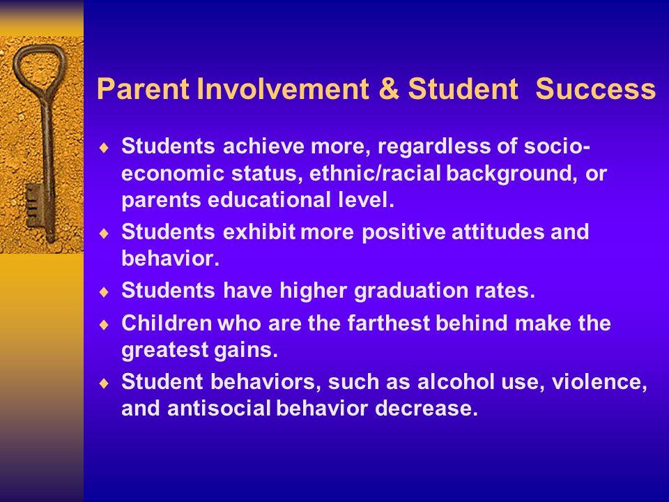 Parent Involvement & Student Success Students achieve more, regardless of socio- economic status, ethnic/racial background, or parents educational lev