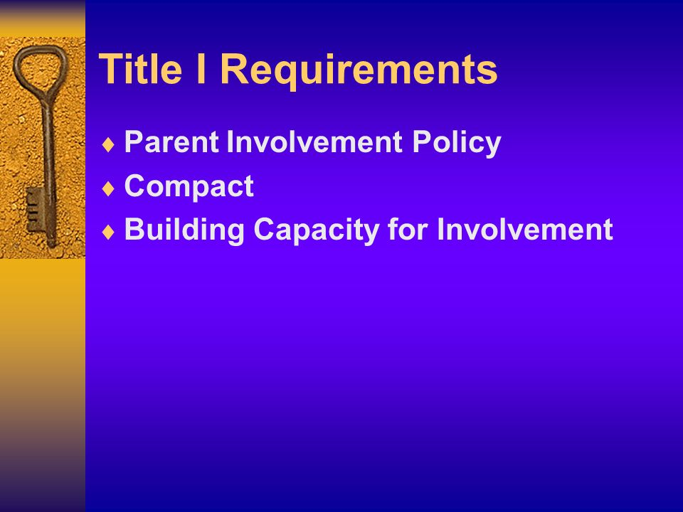 Title I Requirements Parent Involvement Policy Compact Building Capacity for Involvement