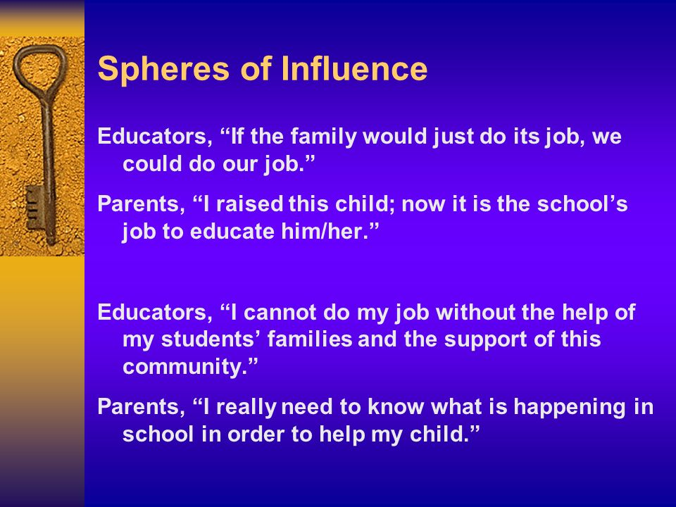 Spheres of Influence Educators, If the family would just do its job, we could do our job. Parents, I raised this child; now it is the schools job to e