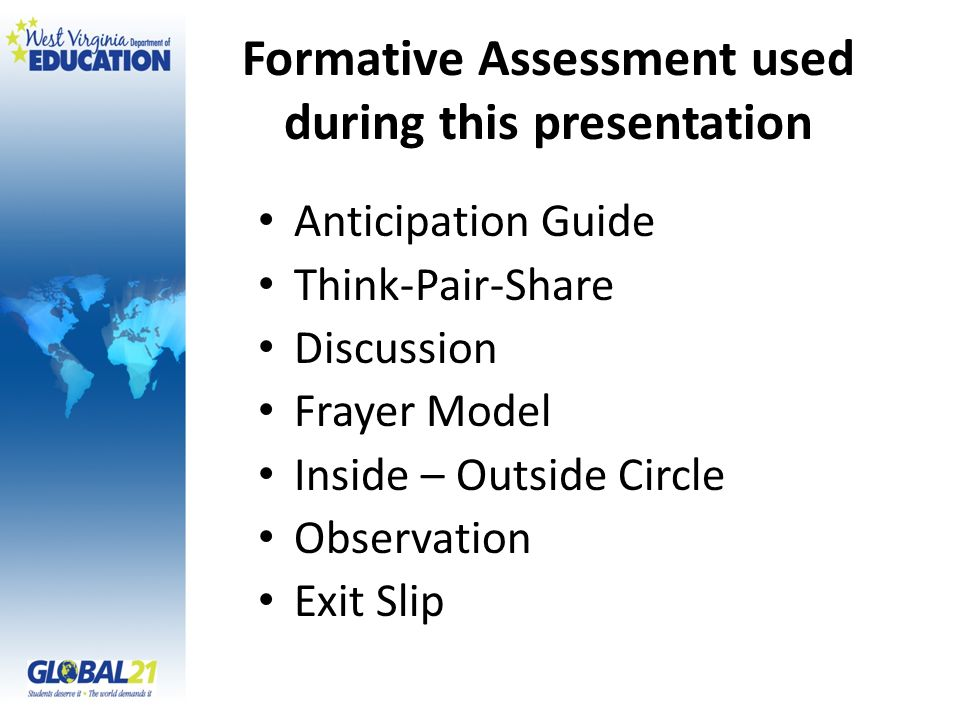 Formative Assessment used during this presentation Anticipation Guide Think-Pair-Share Discussion Frayer Model Inside – Outside Circle Observation Exi