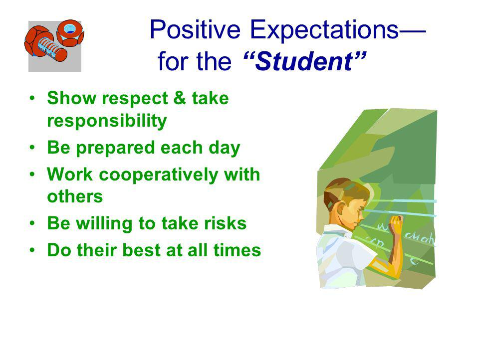 Positive Expectations for the Student Show respect & take responsibility Be prepared each day Work cooperatively with others Be willing to take risks Do their best at all times