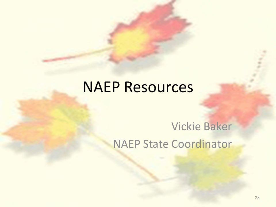28 NAEP Resources Vickie Baker NAEP State Coordinator