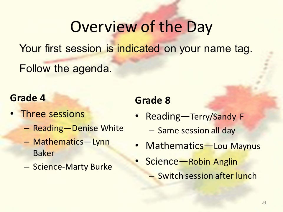 34 Overview of the Day Grade 4 Three sessions – ReadingDenise White – MathematicsLynn Baker – Science-Marty Burke Grade 8 Reading Terry/Sandy F – Same