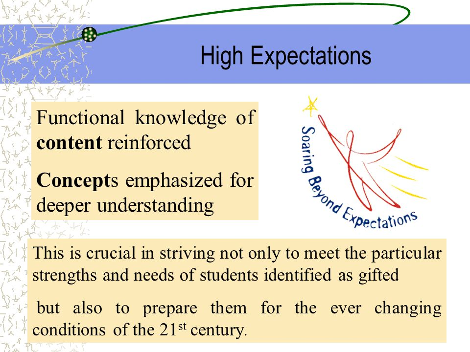 High Expectations Functional knowledge of content reinforced Concepts emphasized for deeper understanding This is crucial in striving not only to meet