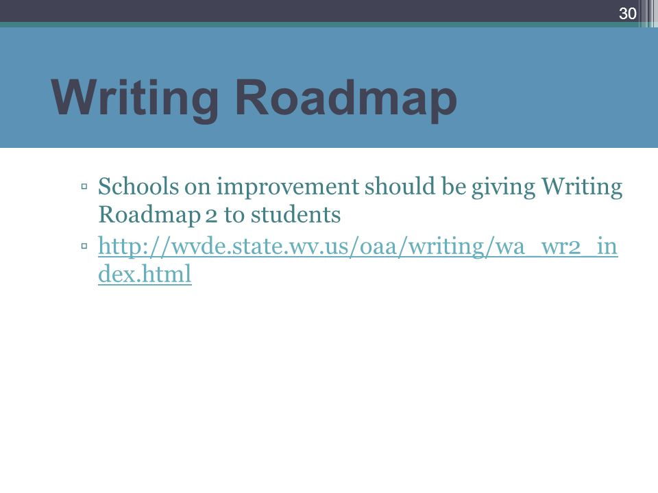 Writing Roadmap Schools on improvement should be giving Writing Roadmap 2 to students http://wvde.state.wv.us/oaa/writing/wa_wr2_in dex.htmlhttp://wvd