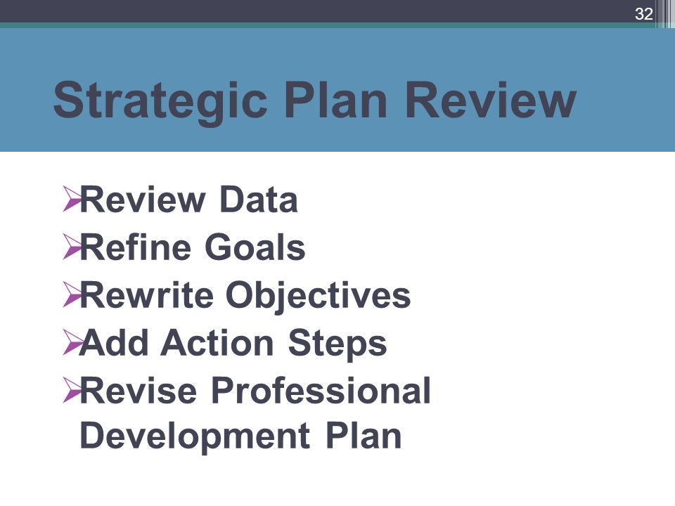 Strategic Plan Review Review Data Refine Goals Rewrite Objectives Add Action Steps Revise Professional Development Plan 32